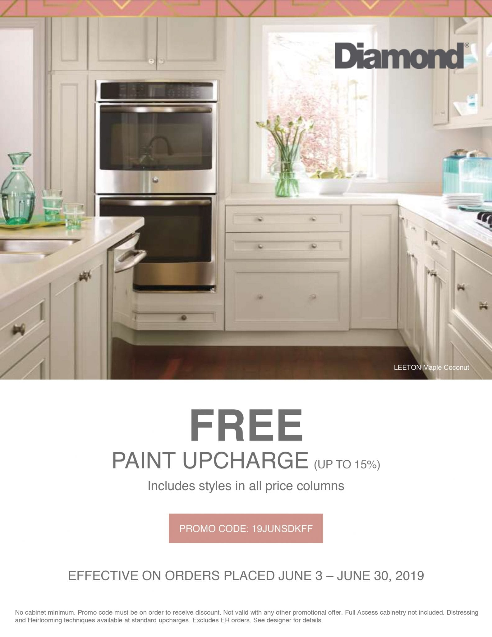 Diamond Cabinetry FREE Paint Up-charge Promotion